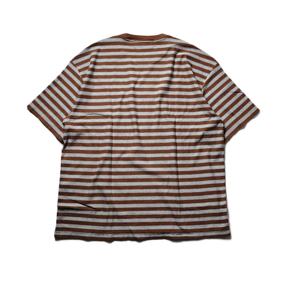UNUSED / US2108 Border t-shirt (Brown × Sax)背面