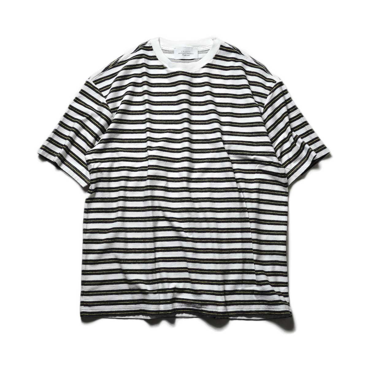 UNUSED / US2108 Border t-shirt (White × Black)