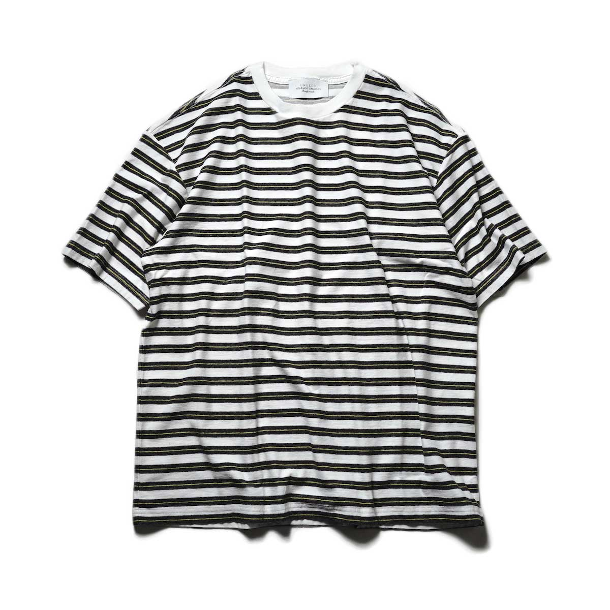 UNUSED / US2108 Border t-shirt (White × Black)正面
