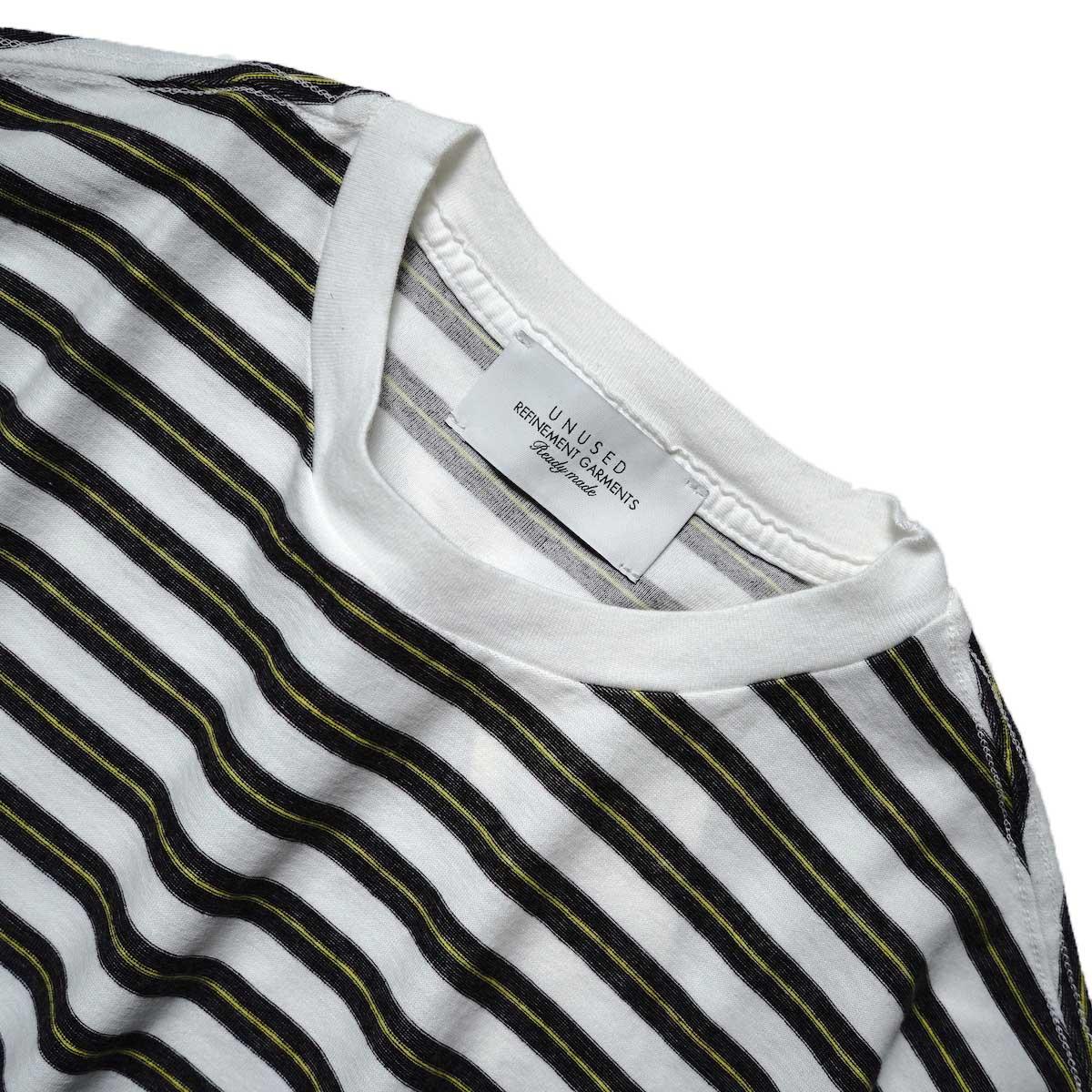 UNUSED / US2108 Border t-shirt (White × Black)ネック