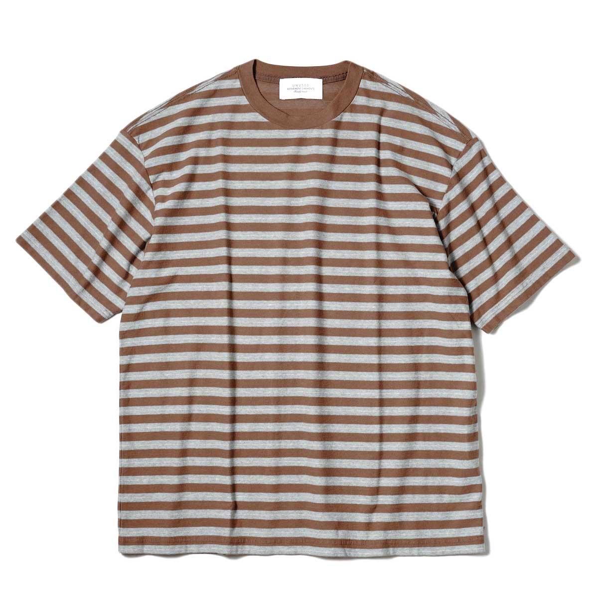 UNUSED / US2109 S/S Border Tee (Brown × Sax) 正面
