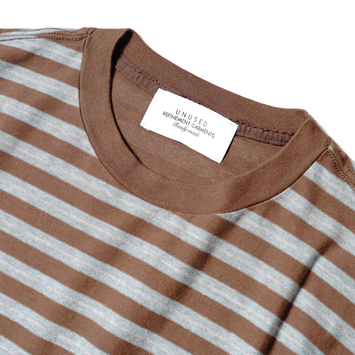 UNUSED / US2109 S/S Border Tee (Brown × Sax) ネック