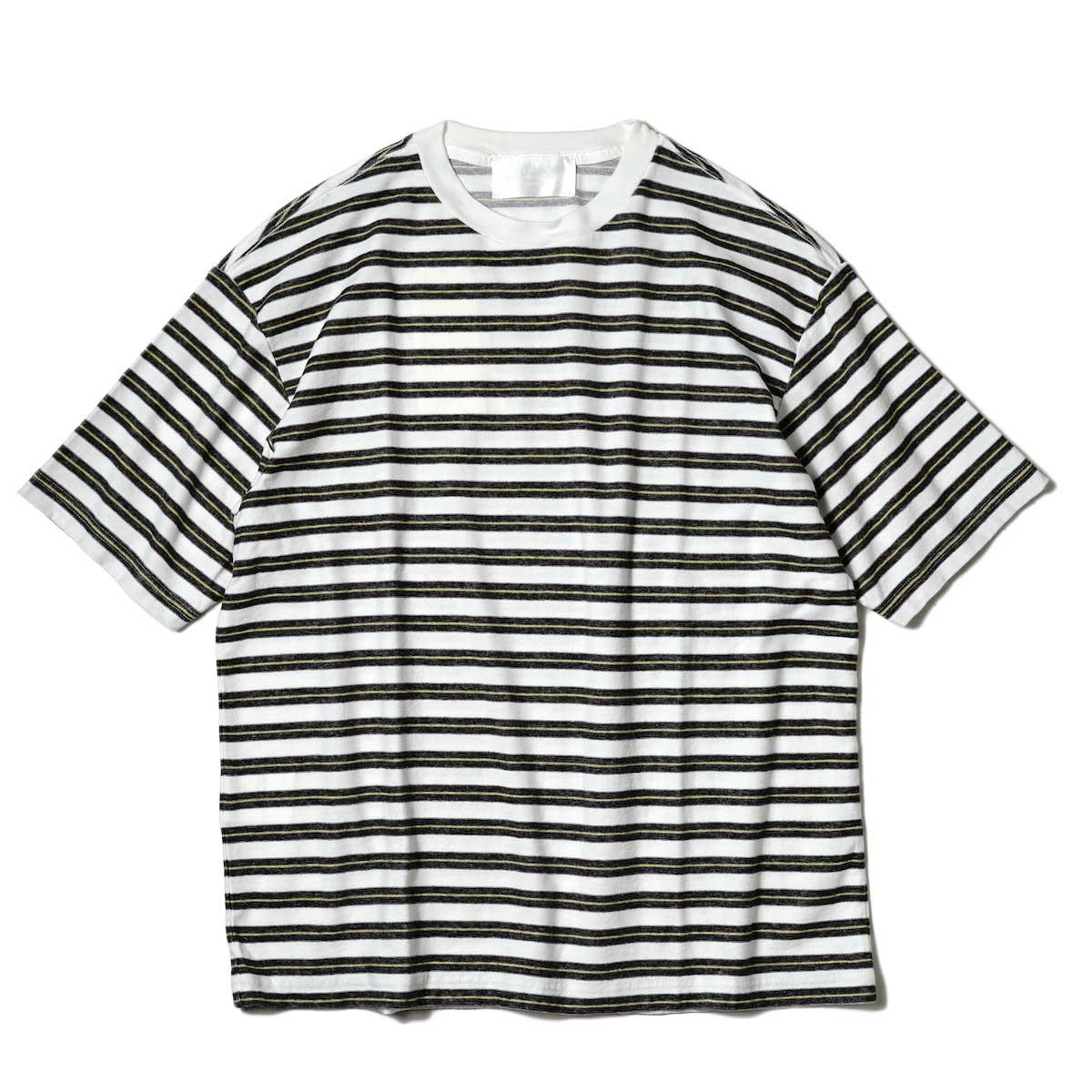 UNUSED / US2109 S/S Border Tee (White × Black) 正面
