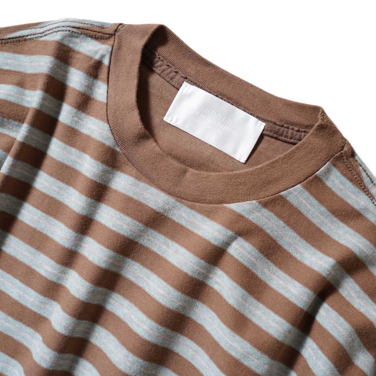 UNUSED / US2117 L/S Border Tee (Brown × Sax) ネック
