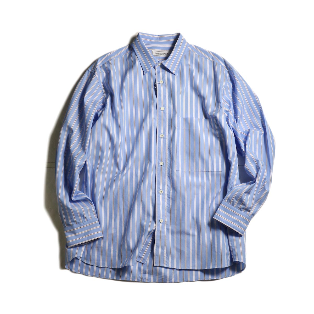 UNIVERSAL PRODUCTS / STRIPE REGULAR COLLAR SHIRT (Sax Stripe)