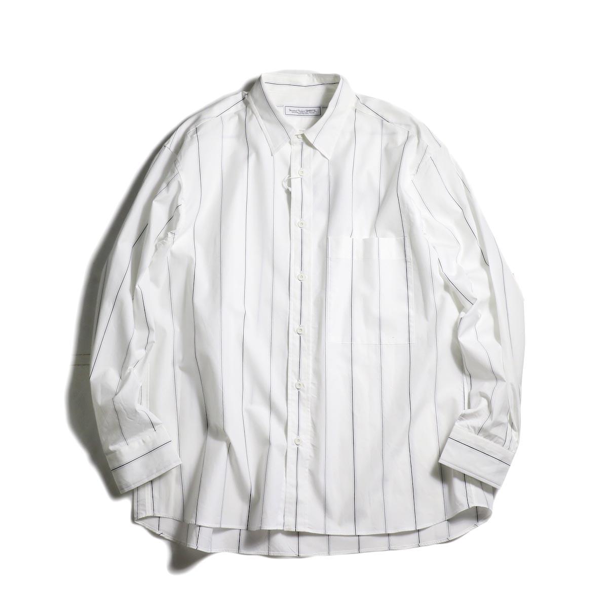 UNIVERSAL PRODUCTS / STRIPE REGULAR COLLAR SHIRT (White Stripe)