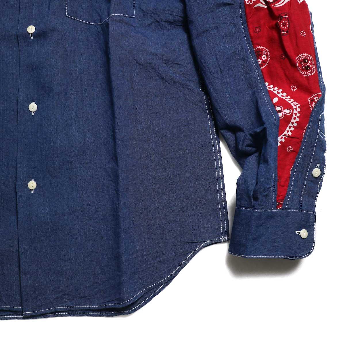 visvim / ALBACORE JUMBO SHIRT L/S (LUXSIC) -Navy 裾、袖