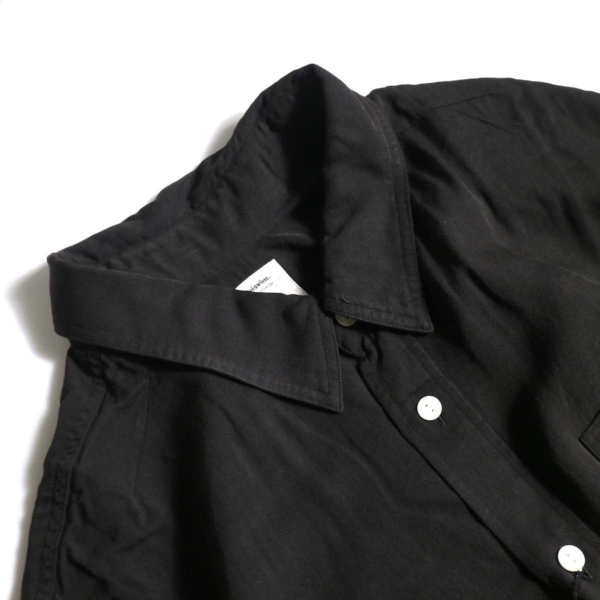 visvim / MAINSAIL SHIRT L/S (RAYON) (Black)襟