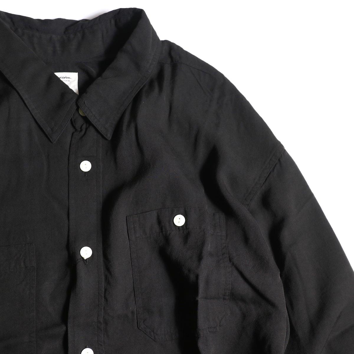 visvim / MAINSAIL SHIRT L/S (RAYON) (Black)ポケット、襟