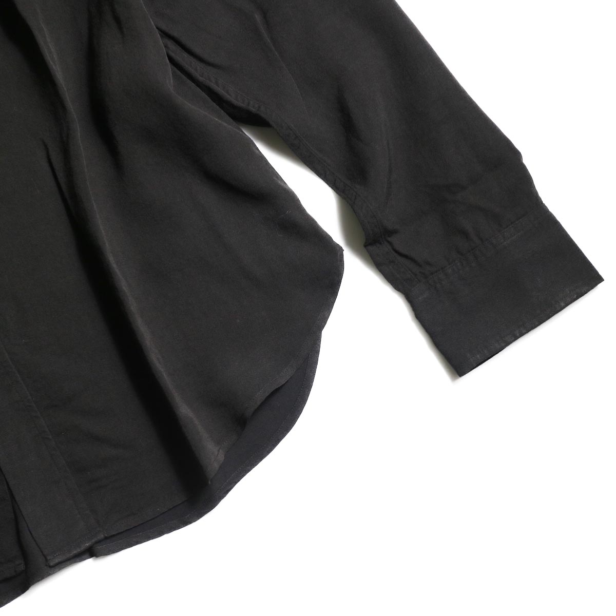 visvim / MAINSAIL SHIRT L/S (RAYON) (Black)裾、袖