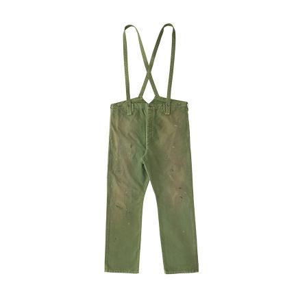 visvim / TRAVAILLER BRACES PANTS DMGD (Green)正面