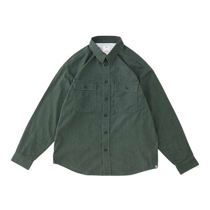 visvim / LUMBER KHADI CHECK L/S (Green)正面