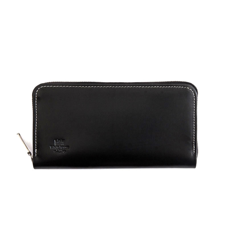 WHITEHOUSE COX / S2622 LONG ZIP WALLET / HOLIDAY LINE -BLACK×PURPLE