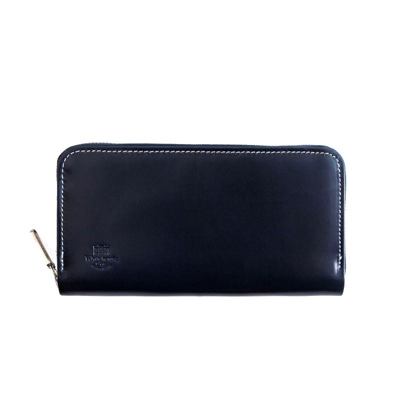 WHITEHOUSE COX / S2622 LONG ZIP WALLET / HOLIDAY LINE -NAVY×PURPLE