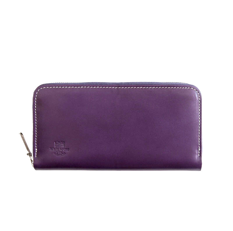 WHITEHOUSE COX / S2622 LONG ZIP WALLET / HOLIDAY LINE -PURPLE×NEWTON