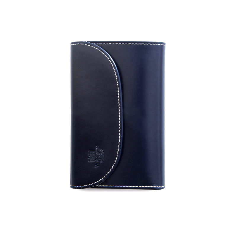 WHITEHOUSE COX / S7660 3FOLD WALLET / HOLIDAY LINE  -NAVY×PURPLE
