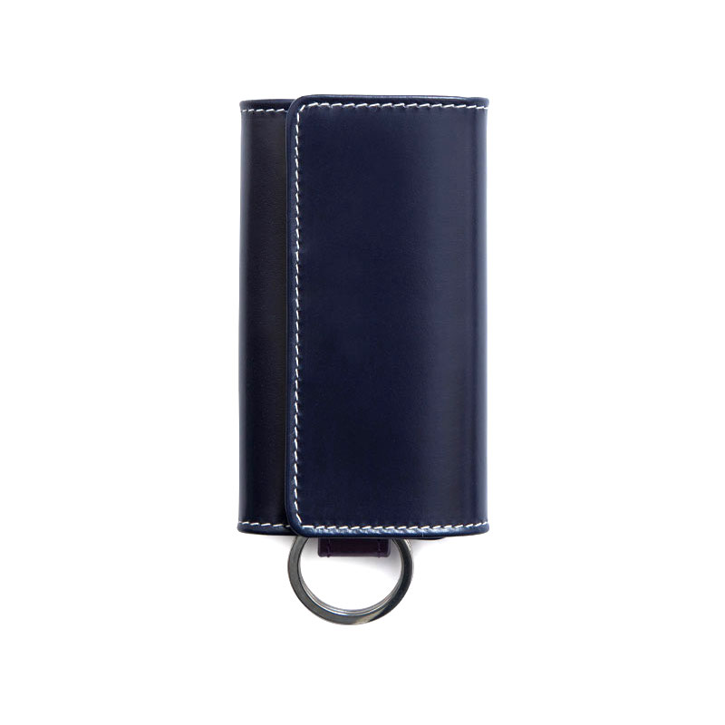 WHITEHOUSE COX / S9692 KEY CASE WITH RING / HOLIDAY LINE  -NAVY×PURPLE