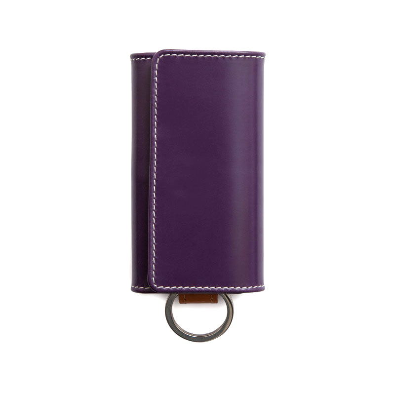 WHITEHOUSE COX / S9692 KEY CASE WITH RING / HOLIDAY LINE  -PURPLE×NEWTON