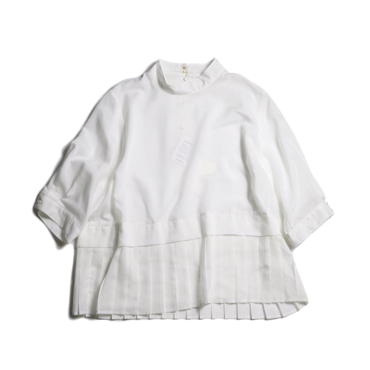 WHYTO. / Stand Collar Pleats Blouse (White)