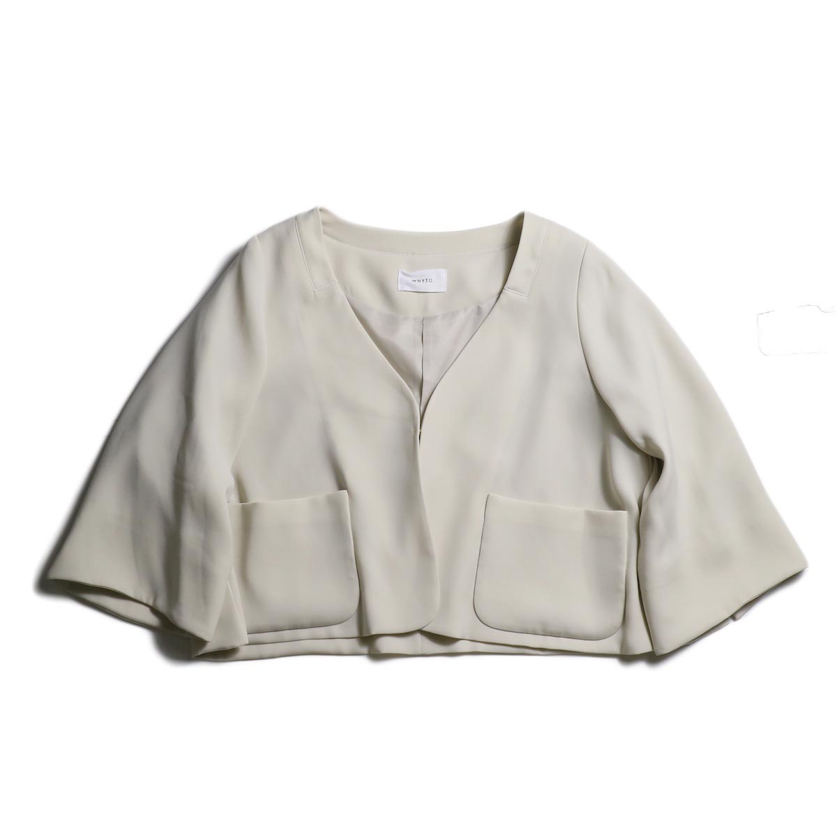 WHYTO. / Double Cloth Satin Short Jacket (Lt.Beige)