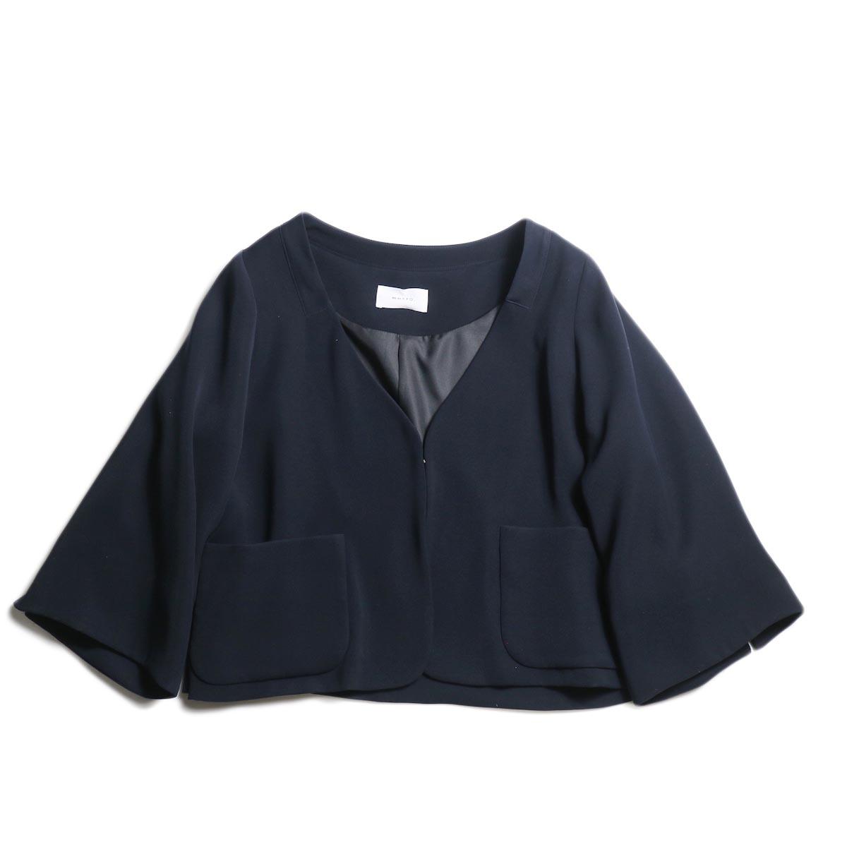 WHYTO. / Double Cloth Satin Short Jacket (Navy)
