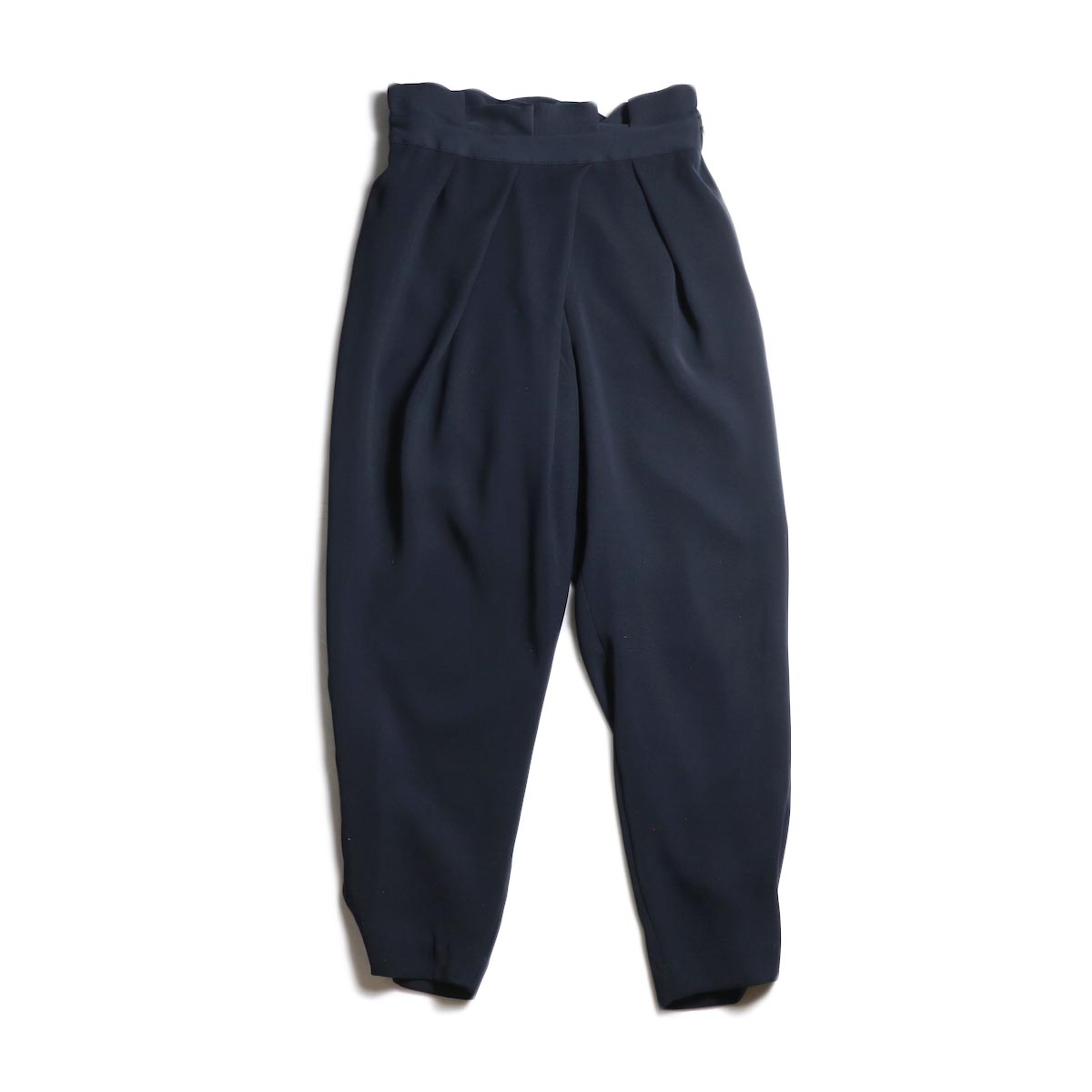 WHYTO. / Double Cloth Satin Tapered Trousers (Navy)