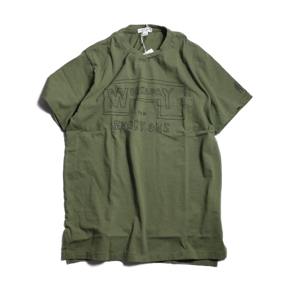 Engineered Garments Workaday / Printed C/N Tee -Everyone-Engineered Garments Workaday / Printed C/N Tee -Everyone -Olive