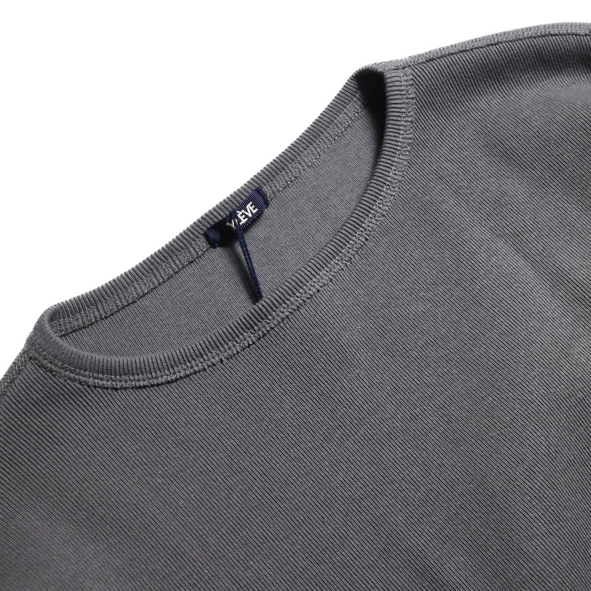 YLEVE / Cotton Rib Pullover (Slate Gray)襟