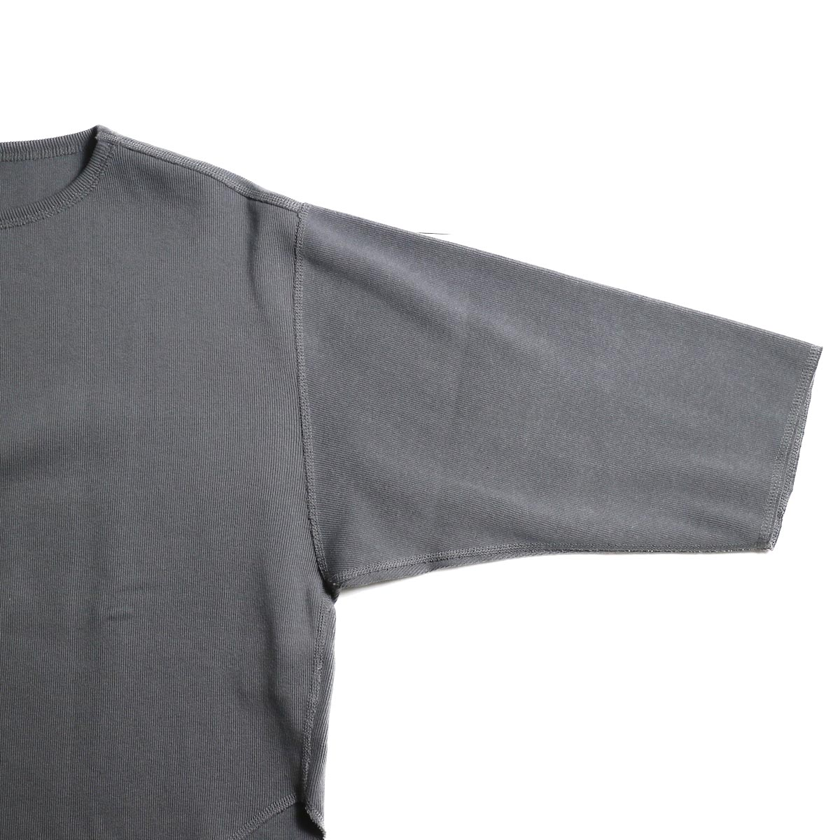YLEVE / Cotton Rib Pullover (Slate Gray)袖付け