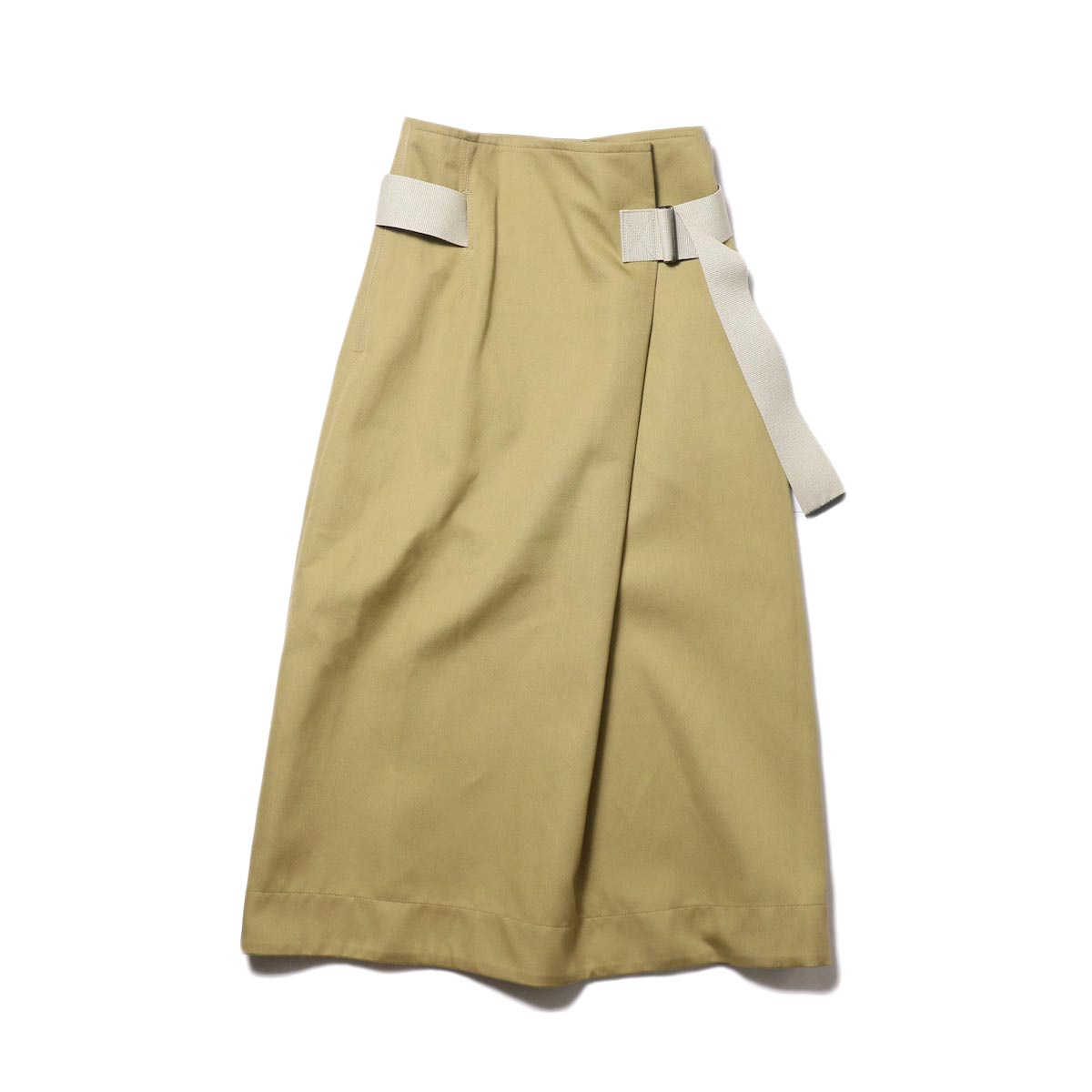 YLEVE / ELS COTTON DOUBLE CLOTH SKIRT (khaki) 正面