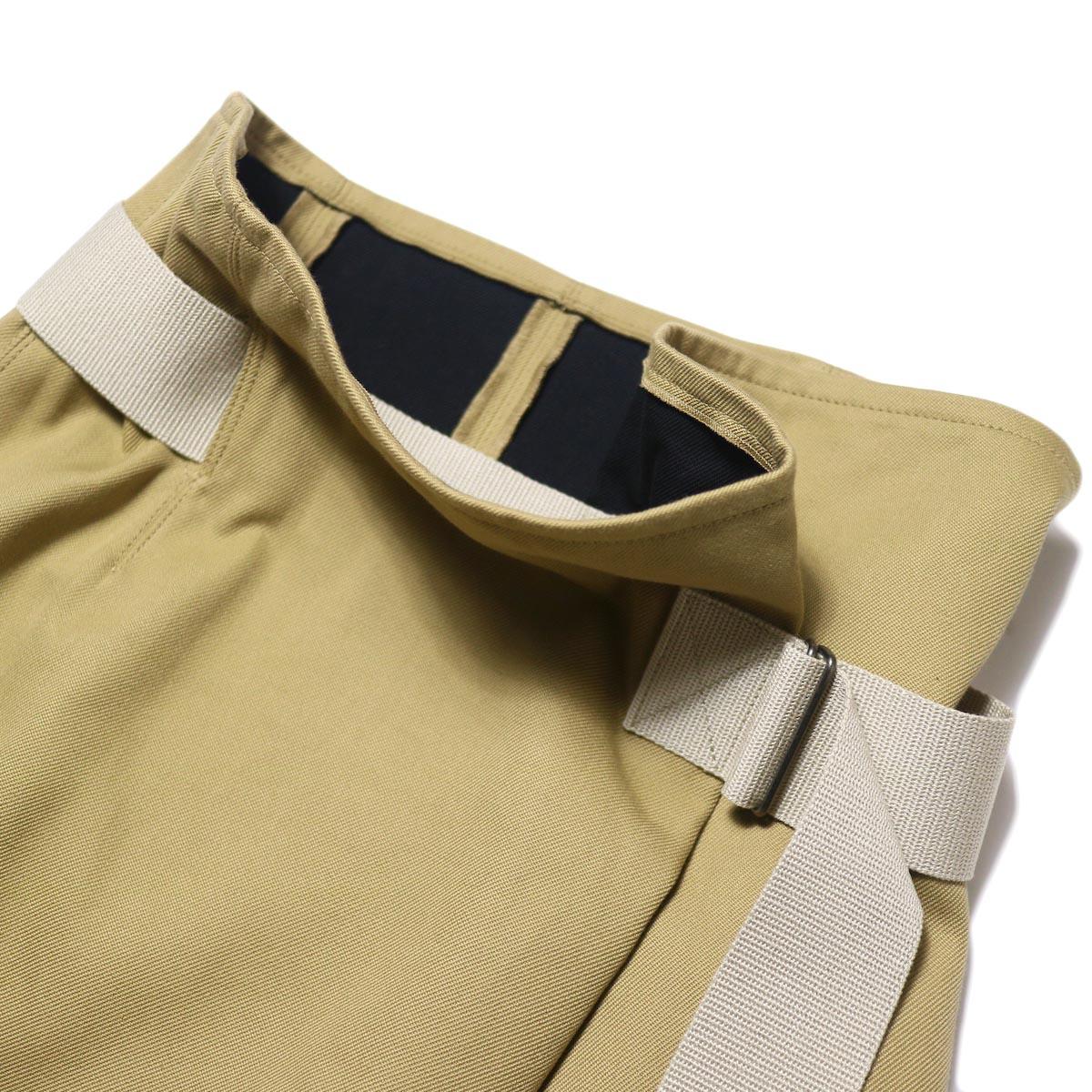YLEVE / ELS COTTON DOUBLE CLOTH SKIRT (khaki) 裏地