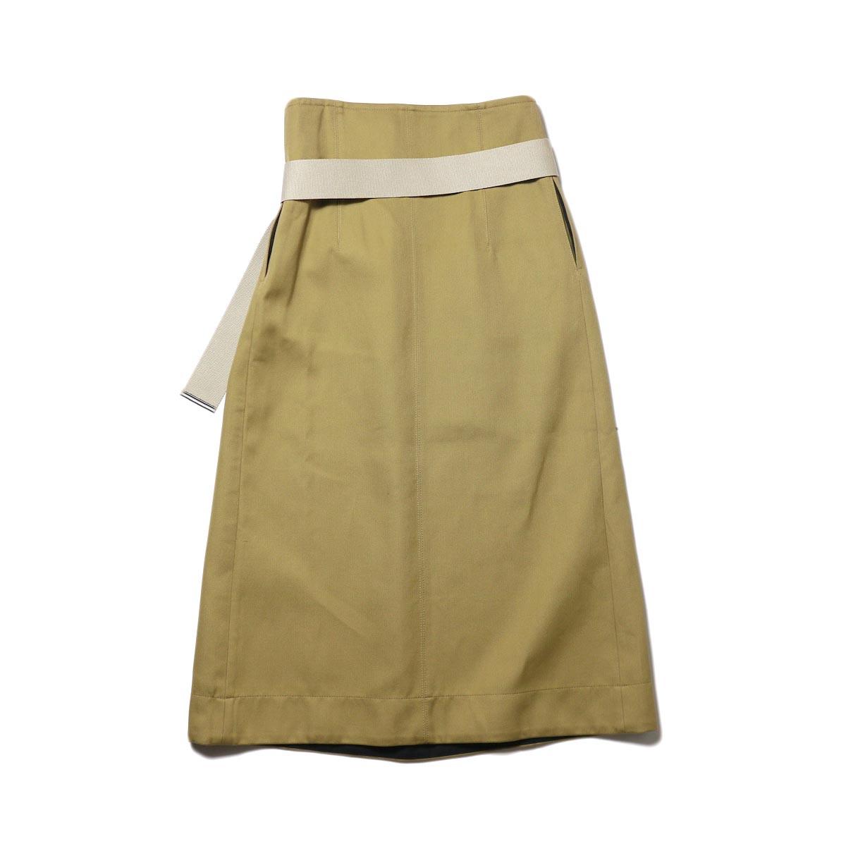YLEVE / ELS COTTON DOUBLE CLOTH SKIRT (khaki) 背面