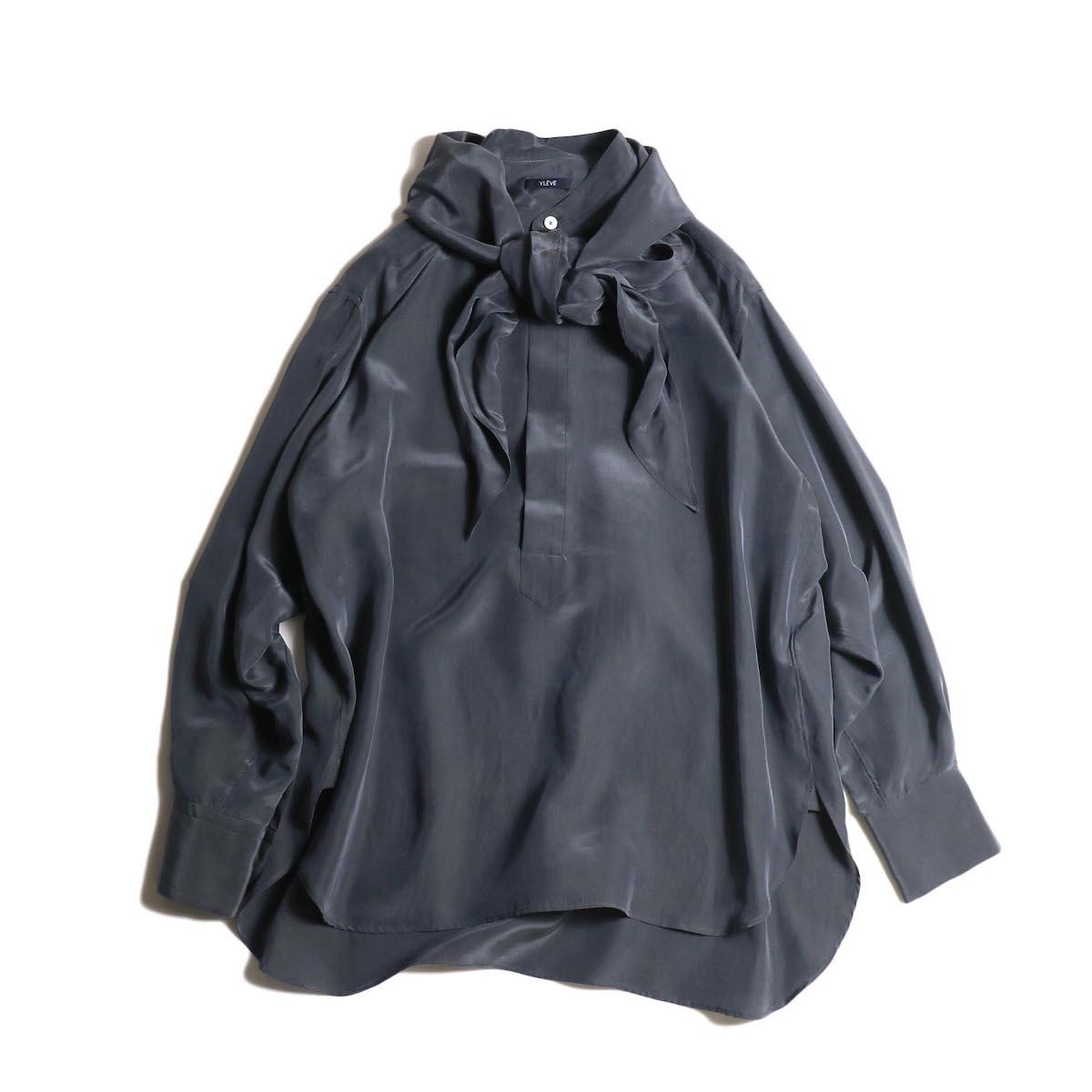 YLEVE / SILK CUPRA SUEDE BL (charcoal) スカーフ付き 正面