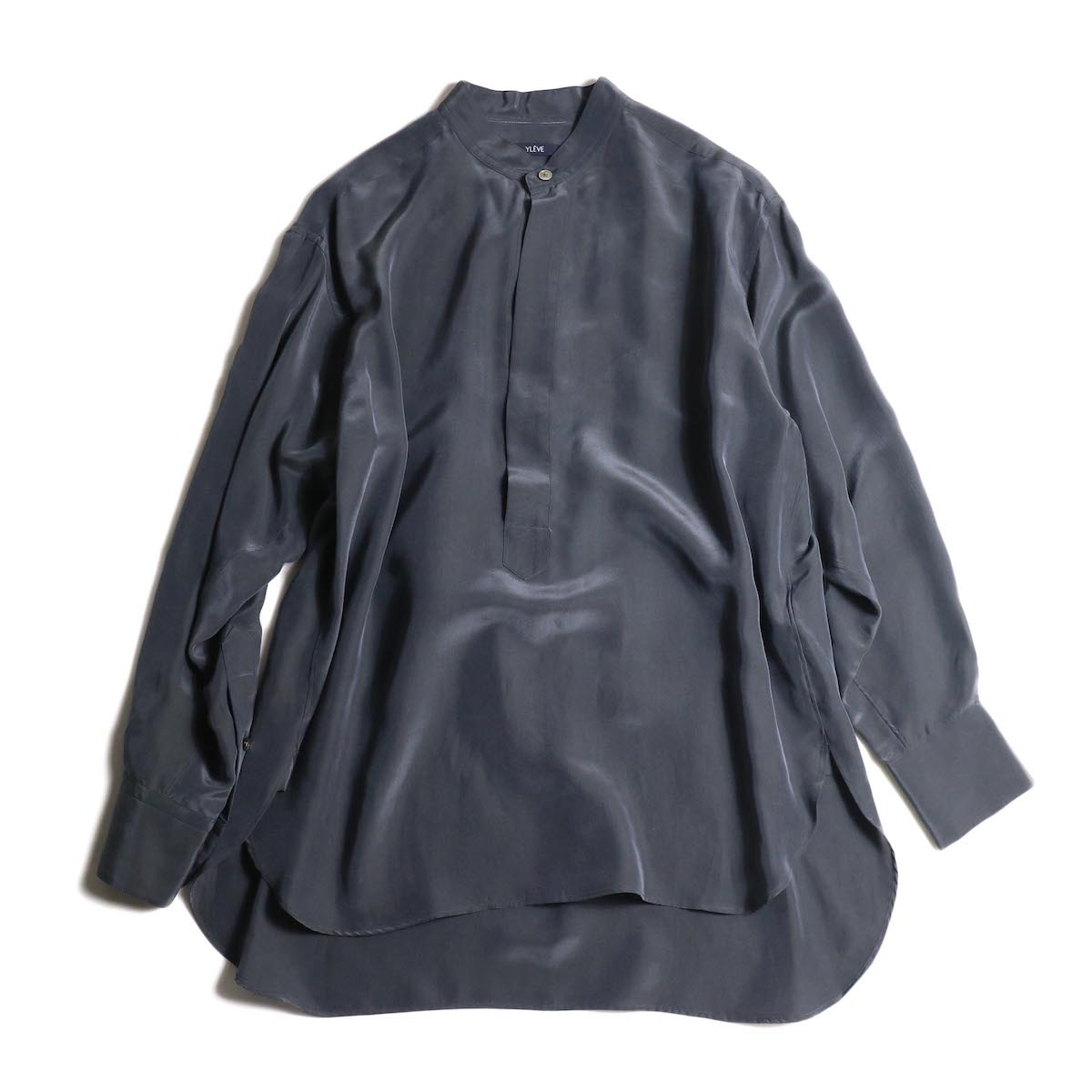 YLEVE / SILK CUPRA SUEDE BL (charcoal) 正面