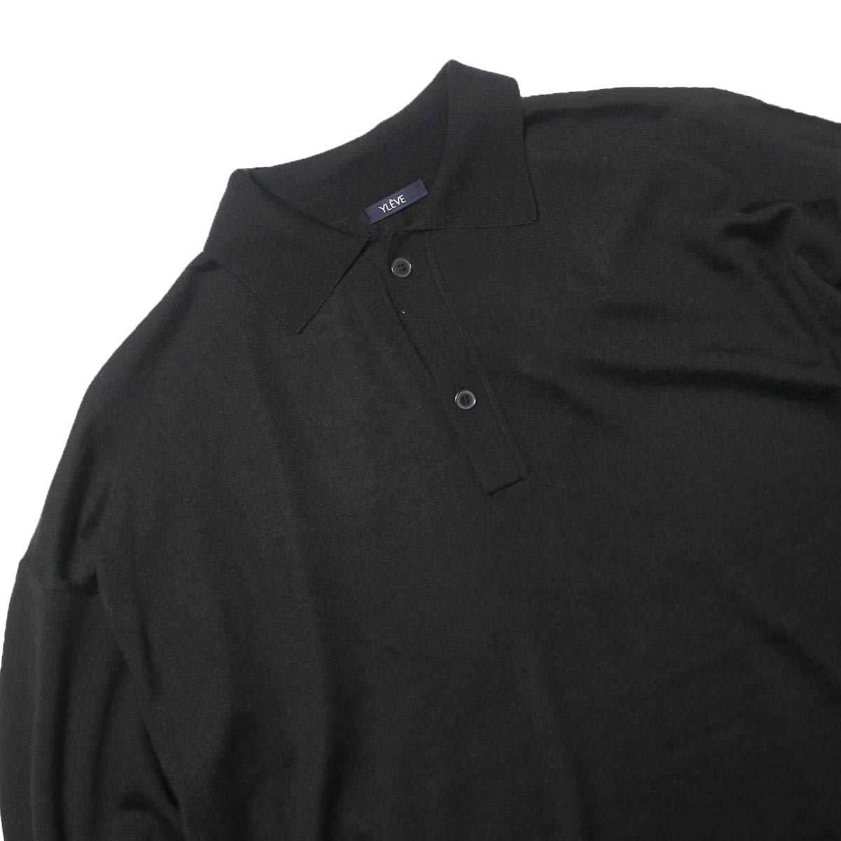 YLEVE / WOOL SILK CASHMERE POLO KN OP (black) 襟