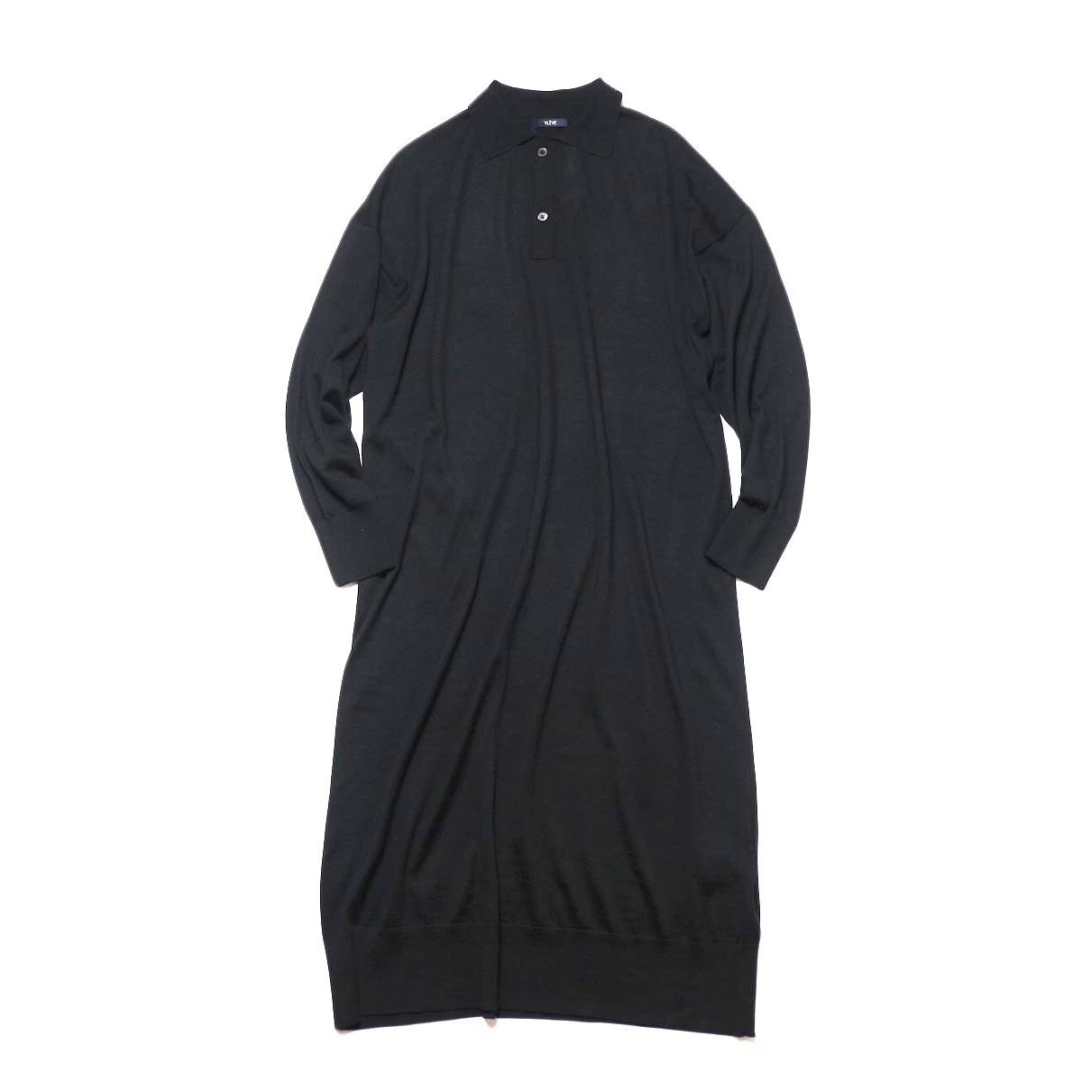 YLEVE / WOOL SILK CASHMERE POLO KN OP (black) 正面