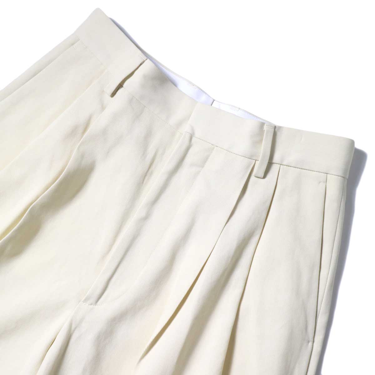 YLEVE / HIGH COUNT COTTON KERSEY SHORTS (Straw Beige) ウエスト