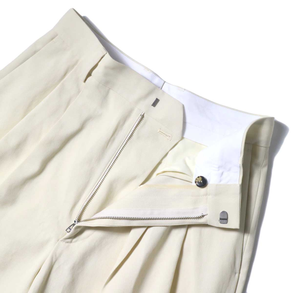YLEVE / HIGH COUNT COTTON KERSEY SHORTS (Straw Beige) ウエスト内部