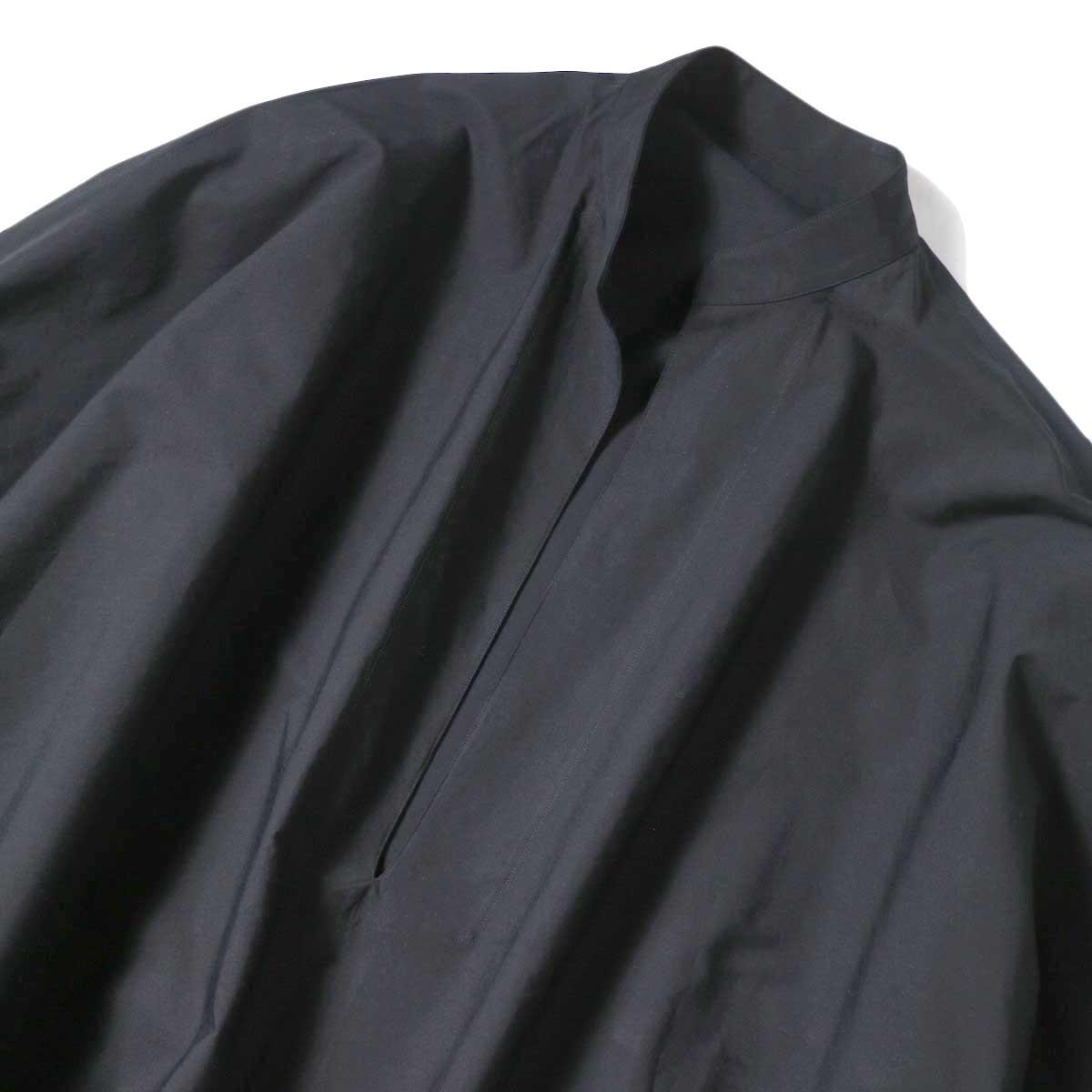 YLEVE / COTTON TYPEW RITER LONG KAFTAN SHIRT (Black) Vネック