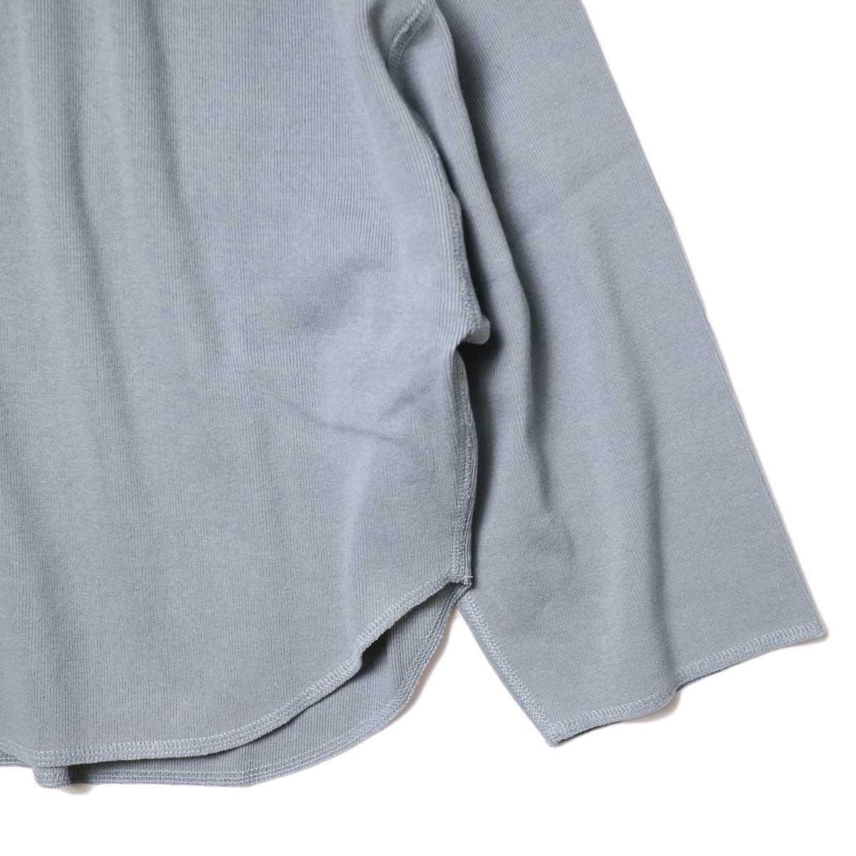 YLEVE / Cotton Rib Pullover (Fog Green) 袖・裾