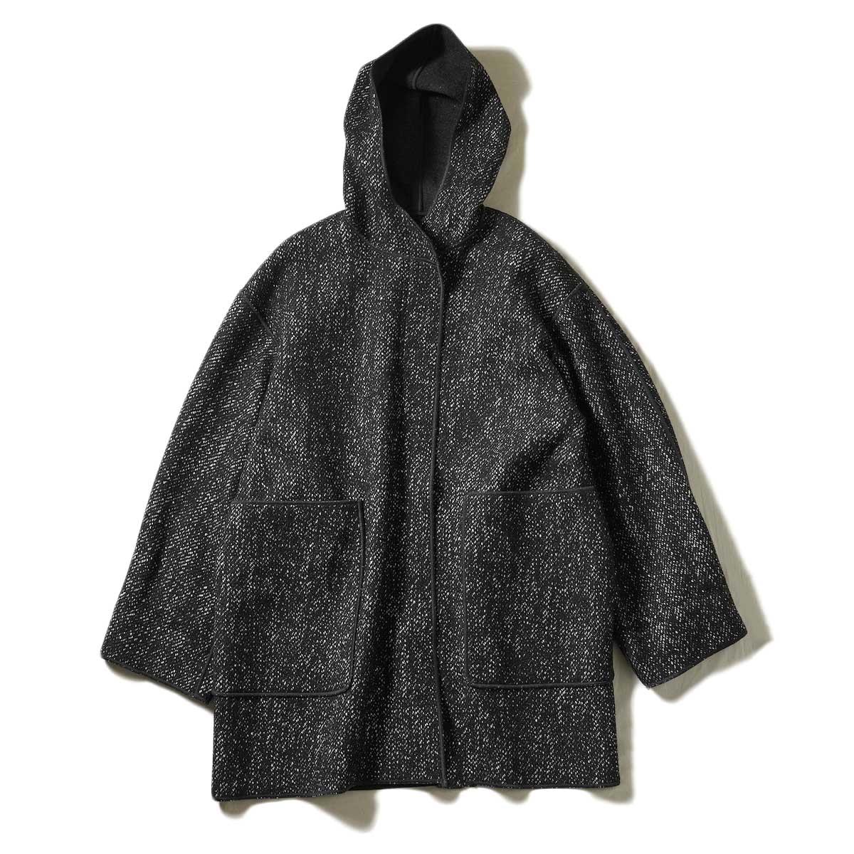 YLEVE / TWEED×WOOL DOUBLE CLOTH RIVERSIBLE COAT (Black)
