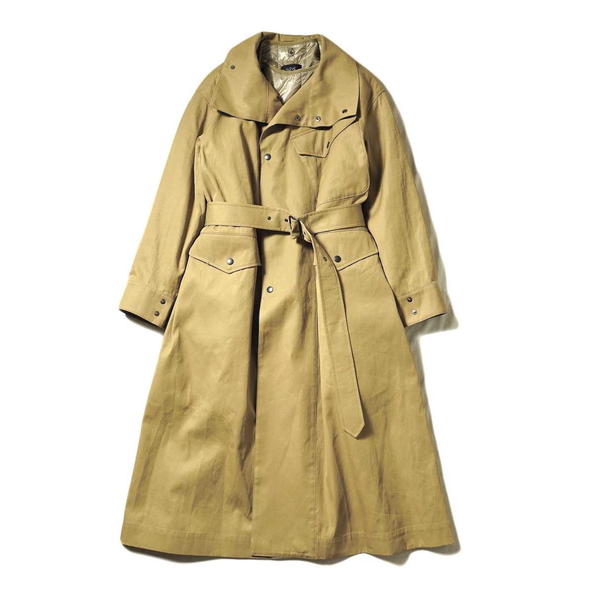 YLEVE / HIGH COUNT COTTON GABARDINE WITH QUILT LINING COAT (Wood)