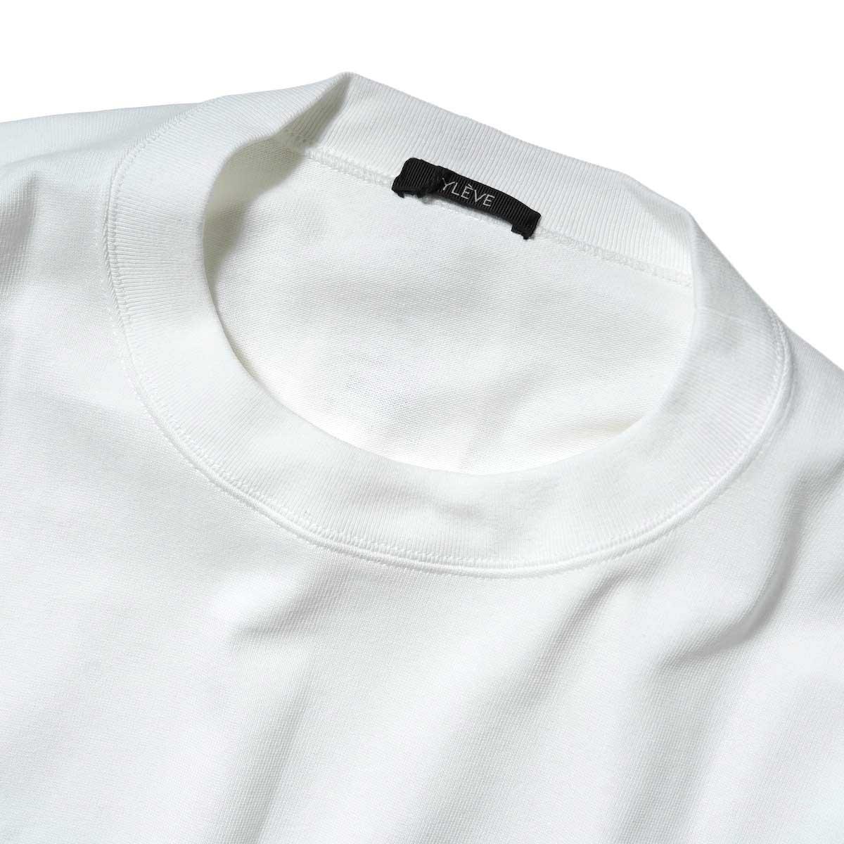 YLEVE / TWIST YARN COTTON BIG P/O (White) ネック