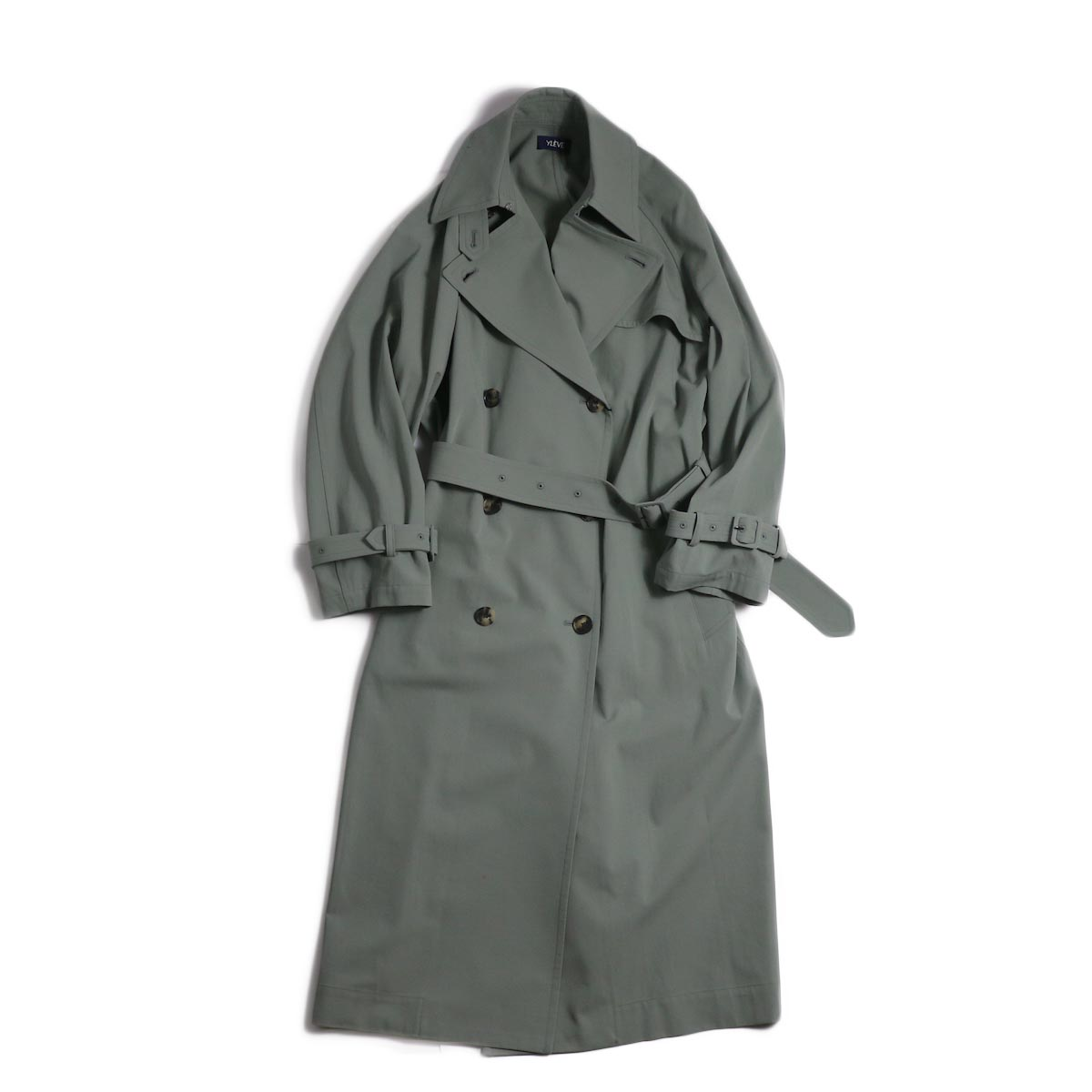 YLEVE / Cotton/Linen High Twist Twill Coat -Sage 正面