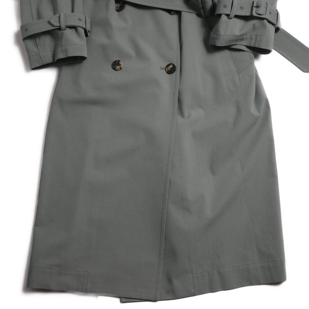 YLEVE / Cotton/Linen High Twist Twill Coat -Sage 裾
