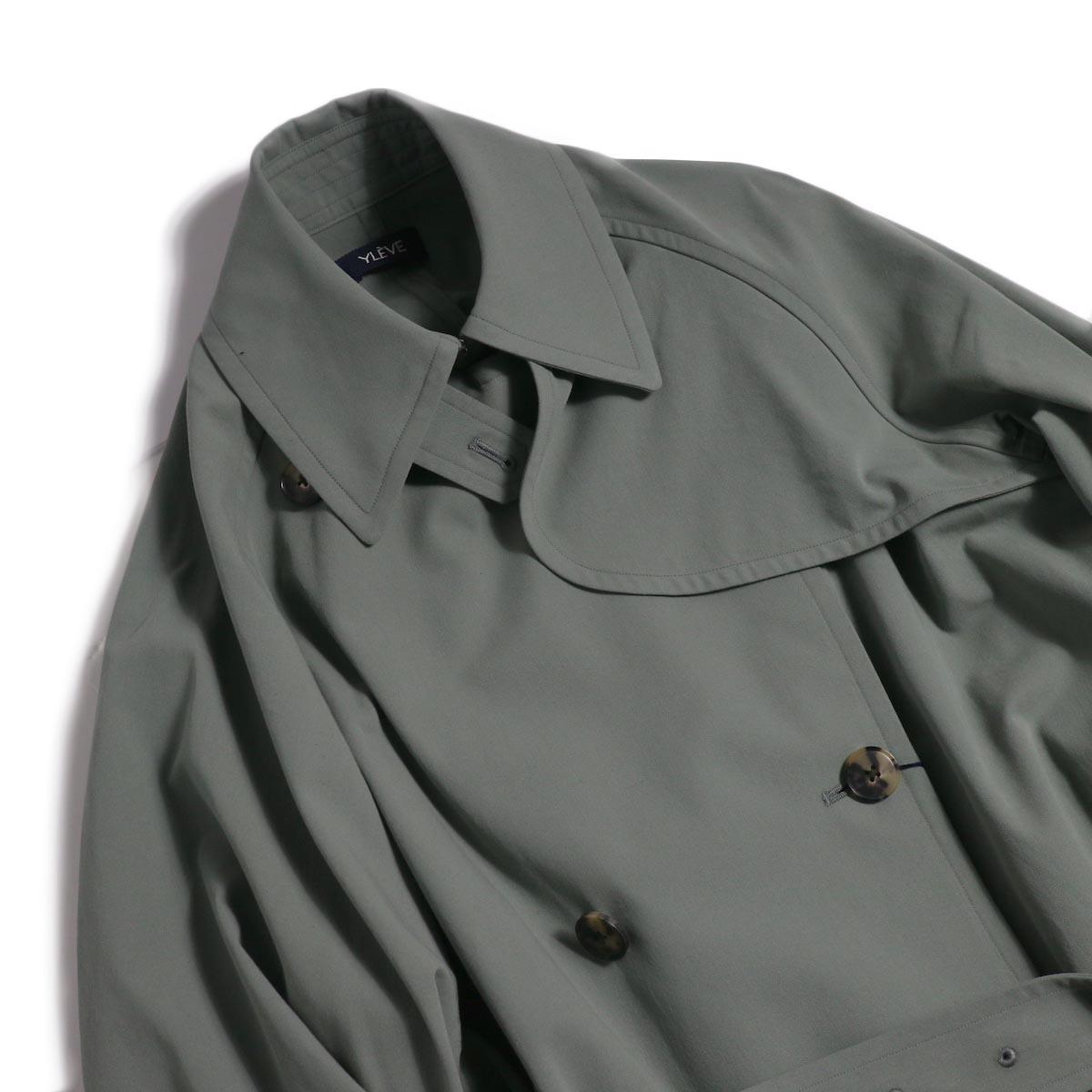 YLEVE / Cotton/Linen High Twist Twill Coat -Sage 襟元