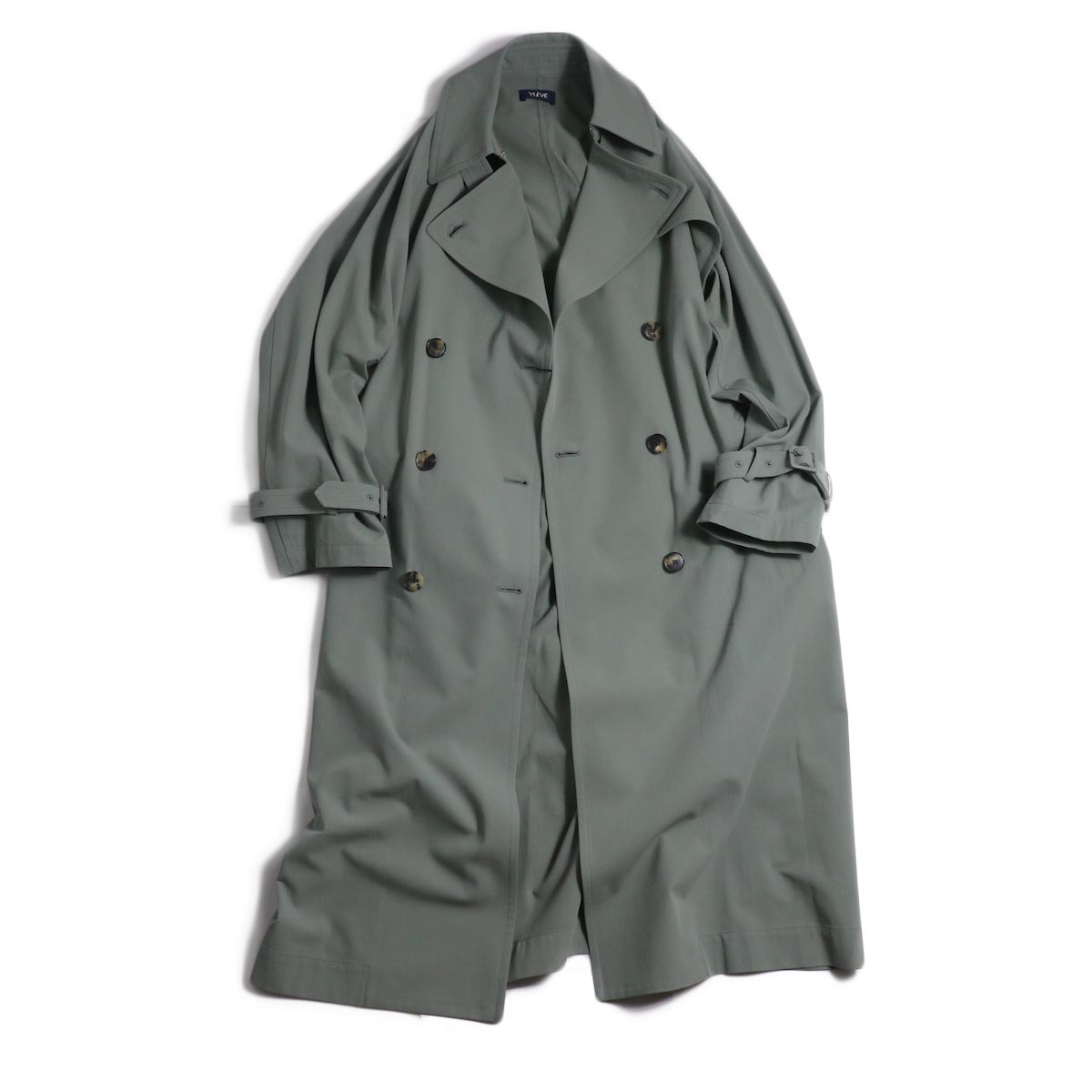 YLEVE / Cotton/Linen High Twist Twill Coat -Sage フロント(開)