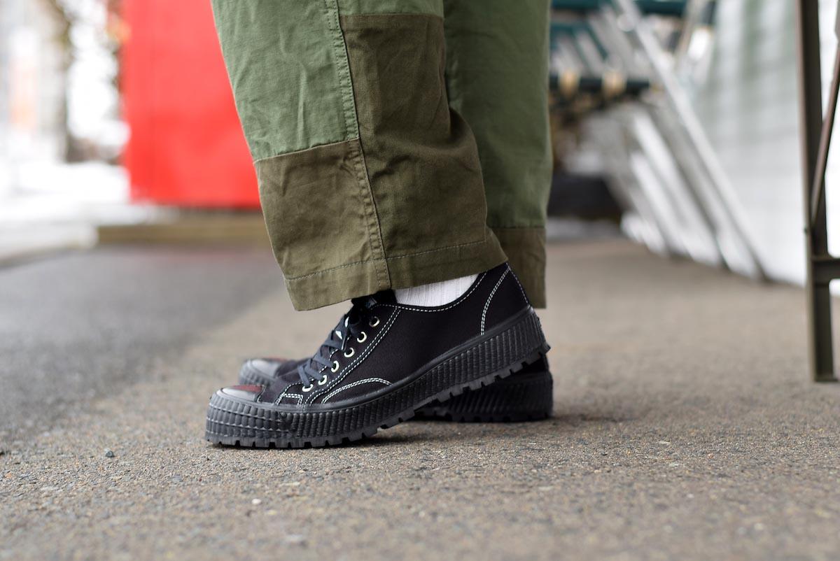 ZDA / 2100-F Climber Sole Cnavas Sneaker (Black)着用②